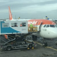 Boarding our wheelchair repatriation patient onto an Easyjet flight.