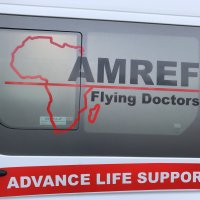 Our crew awaiting transfer to the airport using this ambulance in Nairobi, Kenya.