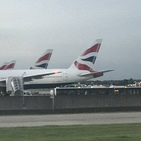 British Airways aircraft lining up at Heathrow.