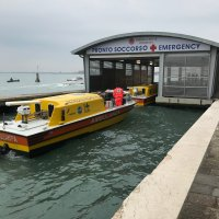 Water born ambulance in Venice. Our stretcher repatriation had to be taken to the airport by water ambulance from Venice Central.