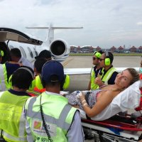 Another happy customer boarding an air ambulance on a stretcher repatriation.