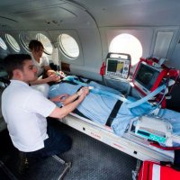 A Critical care patient, transferred  by air ambulance.